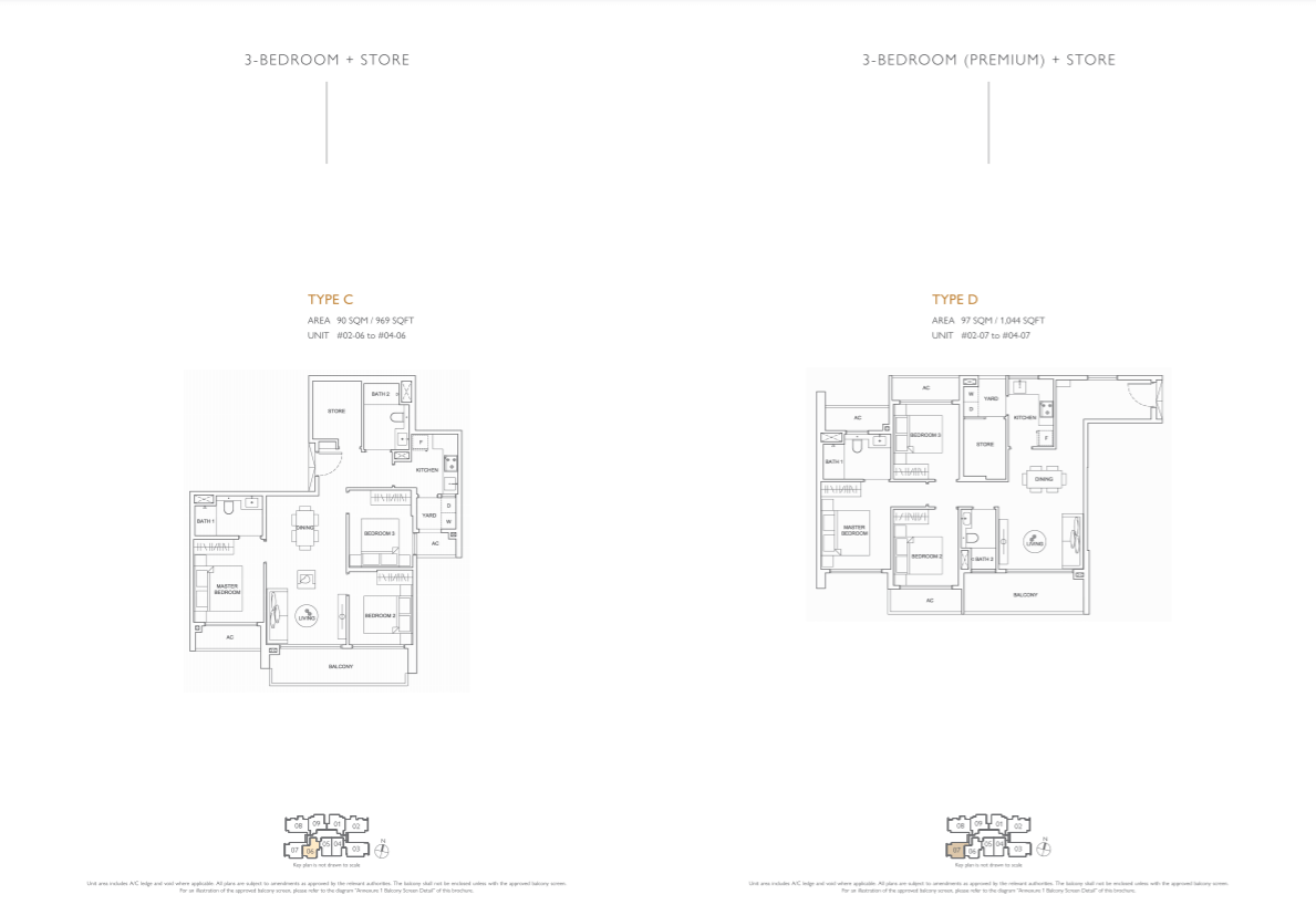 Floor plan of infini at east coast - 3 Bedroom Bedroom Floorplan (eastcoast-infini.com)