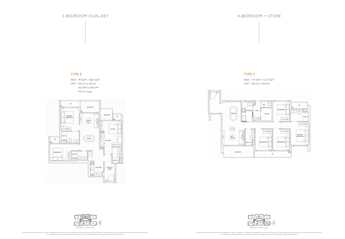 Floor plan of infini at east coast - 3 Bedroom DK & 4 Bedroom Floorplan (eastcoast-infini.com)