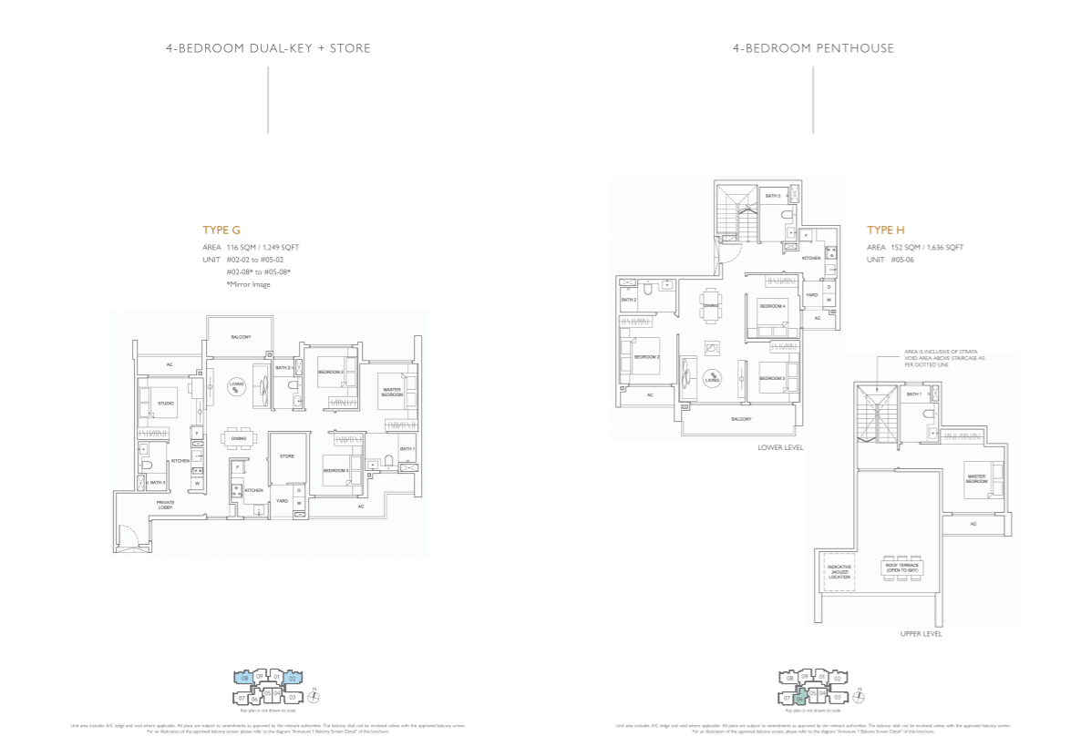 Floor plan of infini at east coast - 4 Bedroom DK & 4 Bedroom Penthouse Floorplan (eastcoast-infini.com)